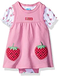 Baby Girls' 2 Piece French Terry Jumper Set With Lap Shoulder Short Sleeve Bodysuit
