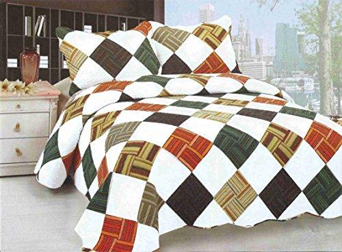 - Norson Home Textile, 3 Piece Floral Forest Cottage Reversible Bedspread Set, Queen (4)
