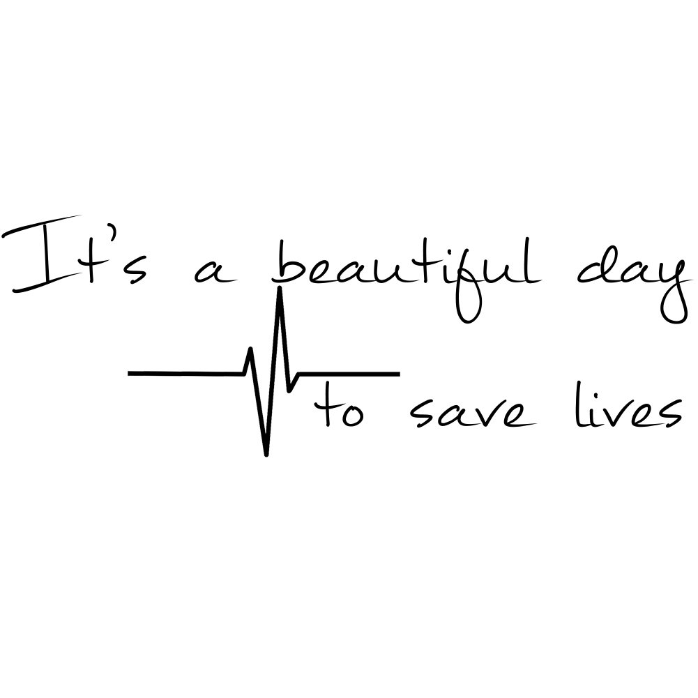 It\'s A Beautiful Day To Save Lives Derek Shepherd Grey\'s 6 Vinyl Sticker Car Decal 6 BLACK