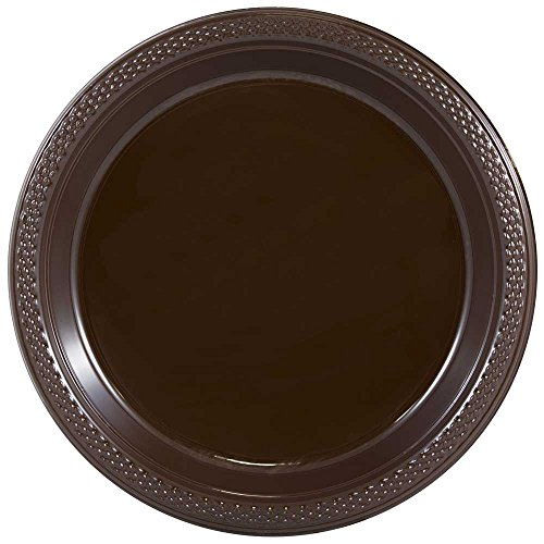(JAM PAPER Round Plastic Party Plates - Medium - 9 inch - Brown - 20/Pack)