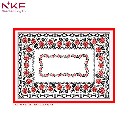 Zamtac Rose Tablecloth Counted Printed Pattern Cross Stitch Kits Embroidery Needlework Sets New Year's Restaurant Decor DIY 11 14ct - (Cross Stitch Fabric CT Number: 11CT Printed) ()
