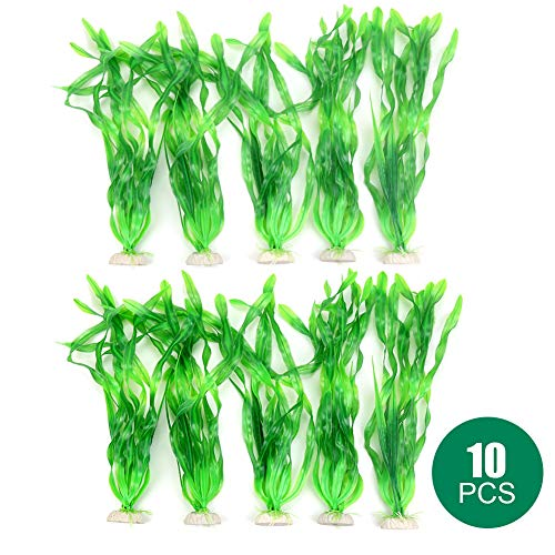 Lifeengine 10PCS Large Artificial Fake Aquarium Sea Seaweed Plants Plastic Flake Fish Tank Plant Decorations Ornament Home Decro Safe for All Fishes (Green)