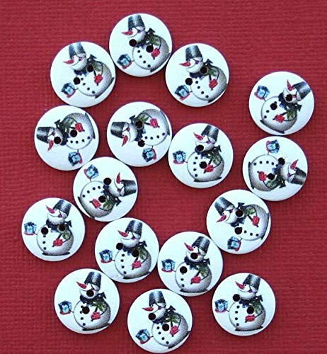 (20 Snowman Buttons Painted Wood Just Adorable Holding Gift 15m Jewelry Making Supply Pendant Bracelet DIY Crafting by Wholesale Charms)