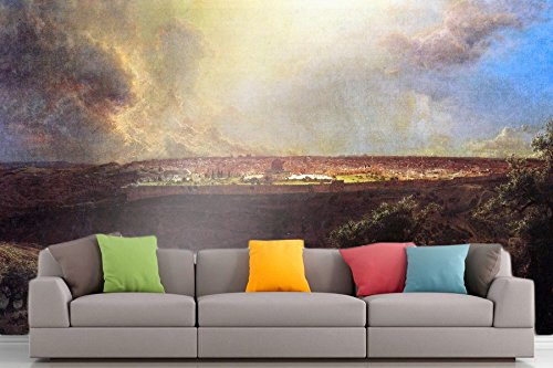 Roshni Arts - Curated Art Wall Mural - Jerusalem from the Mount of Olives by Frederick Edwin Church   Self-Adhesive Vinyl Furnishings Décor Wall Art - 48x64 - Outlets Frederick