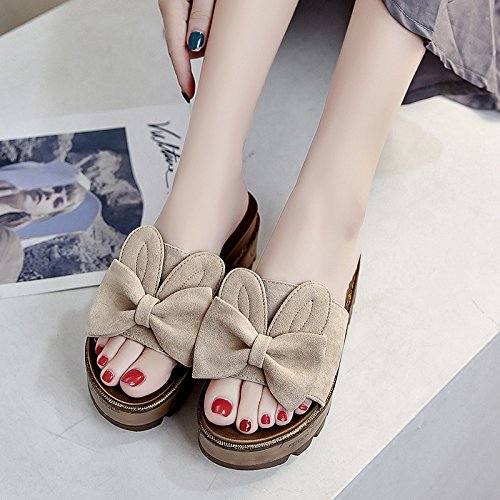 RUGAI-UE Desgaste fuera de moda Cool zapatillas Mujer Zapatillas de verano zapatos de mujer Beige