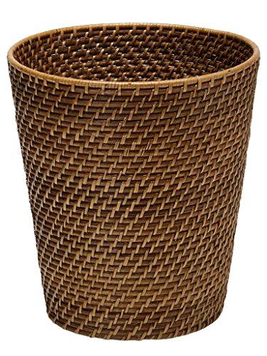 KOUBOO Round Rattan Waste Basket, Honey Brown