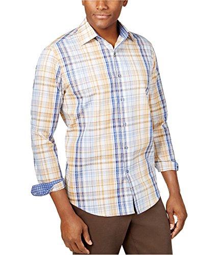 Tasso Elba Mens Plaid Button Front Dress Shirt Blue S -