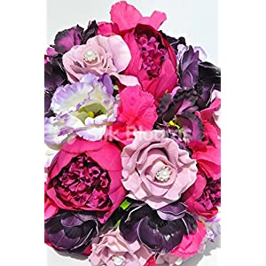 Beautiful Artificial Silk Peony and Lisianthus Bridal Bouquet with Anemones and Roses 2