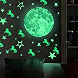 38pcs Removable Glow In the Dark Stars 26pcs & Moon Wall Stickers with 10pcs Unicorn Wall Decals Peel Stick art Decor for Walls Ceiling Kids Bedroom Living Room Nursery Girls and Boys