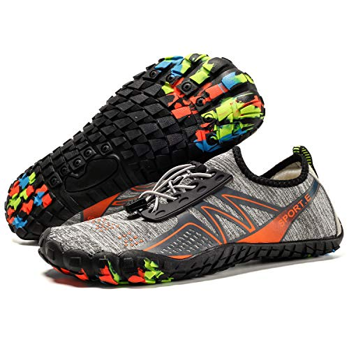 Lightweight Water Shoes Mesh Breathable Five Toe Shoes Quick Dry Barefoot Shoes for Men (10.5M US Women/8 M US Men, Grey-1929) ()