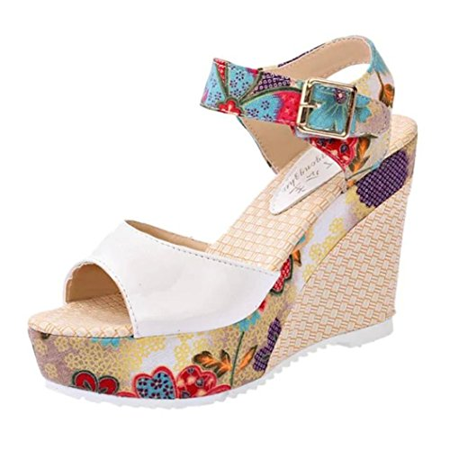 Sunshinehomely Women Summer Fish Mouth Sandals Platform High Heels Wedge Lace National Boho Casual Sandals (white, US:7(39))