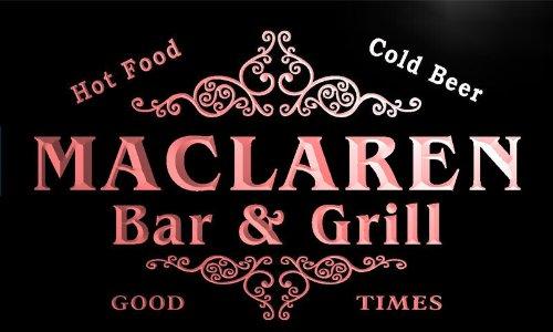 u27668-r MACLAREN Family Name Bar & Grill Home Beer Food Neon Sign - Maclarens Bar
