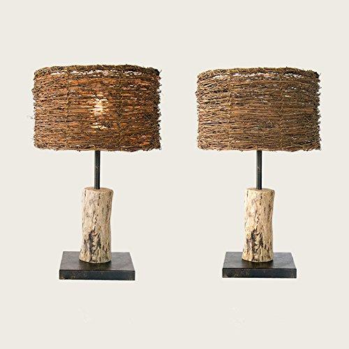 Village Simple Decoration Wooden Bedroom Study Wood Rattan Table Desk Bedside Lamp Light 300X530Mm,B by GAW Lighting Co.Ltd (Image #1)