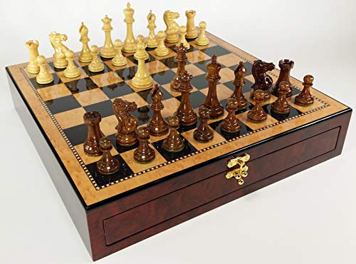 Birdseye Maple Wood Chess Board - 4 Queens Sheesham Lacquered 3 3/4