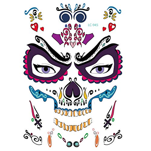 Inverlee 1 Sheet Inverlee Waterproof Facial Temporary Tattoos Day of The Dead Sugar Skull Stickers Halloween Party Terror Scar Makeup Tattoo Stickers (H) -
