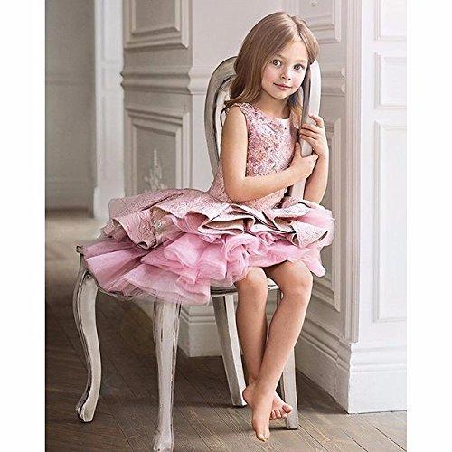 PLwedding Lovely Vintage Lace Applique Short Dream Flower Girls Dresses