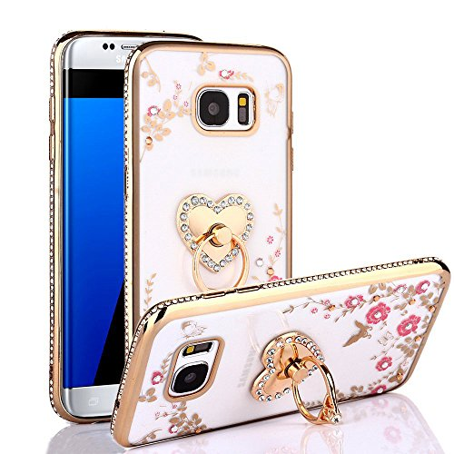 Galaxy S7 Case, S7 Case, CaseUp Glitter Crystal Heart Floral Series - Slim Luxury Bling Rhinestone Clear TPU Case With Ring Stand For Samsung Galaxy S7, Gold