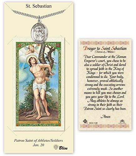Saint Medal Sebastian Pendant (Pewter Saint Sebastian Medal with Laminated Holy Prayer Card)