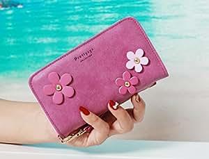 Fancy Flower Chain Luxury 3D Fashion PU Flip Wallet Bag Zipper Pocket Leather Case Cover For Smart Mobile Phones (Samsung Galaxy Ace NXT SM-G313H , Purple )
