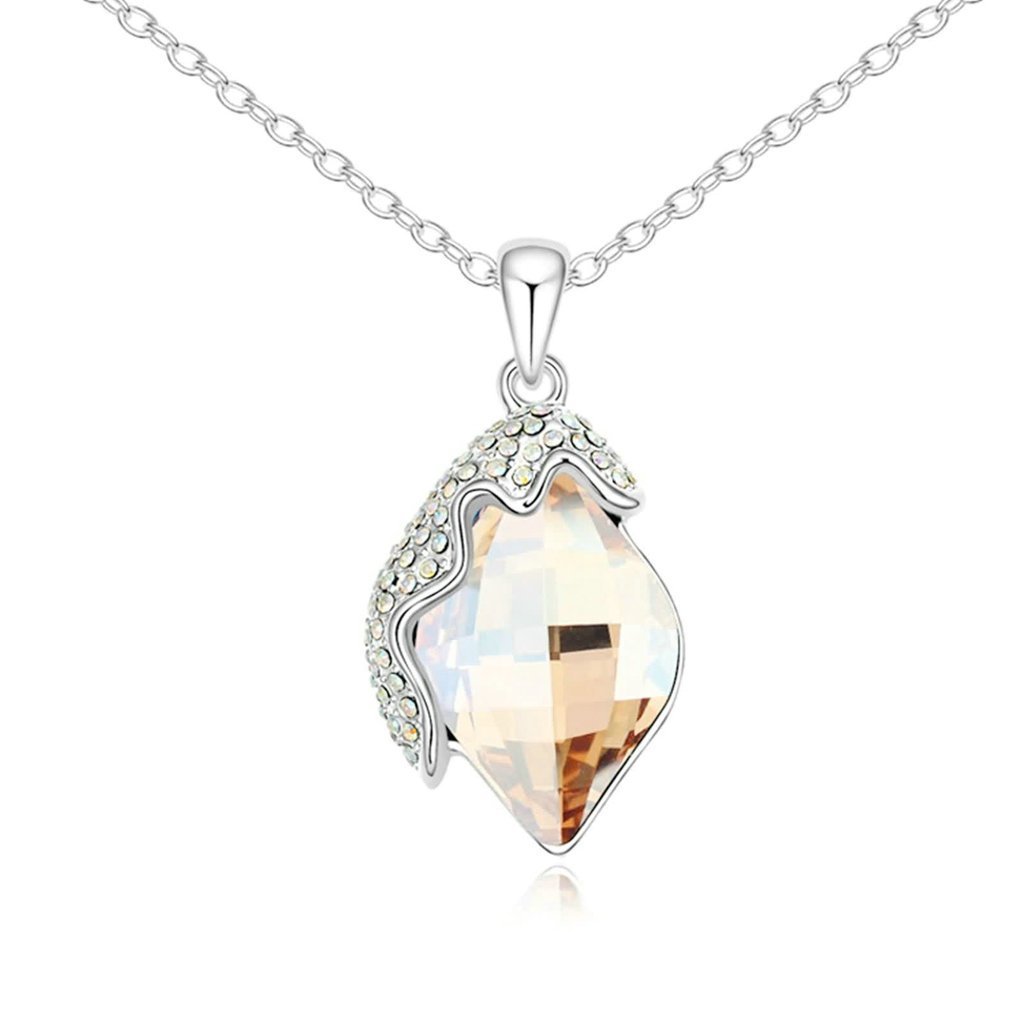 Daesar Gold Plated Womens Flower Synthetic Crystal Necklace CZ Zirconia Necklace