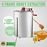 OrangeA Honey Extractor Bee Honey Extractor Manual Honeycomb Spinner 4 Four Frame Stainless Steel Beekeeping Accessory (4 Frame Honey Extractor)