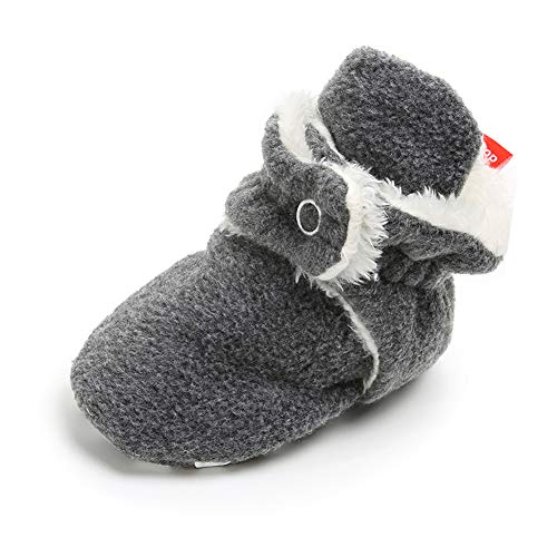 Baby Boys Girls Fleece Booties Non-Slip Bottom Winter Socks Shoes Unisex Pram Soft Sole First Birthday Gift
