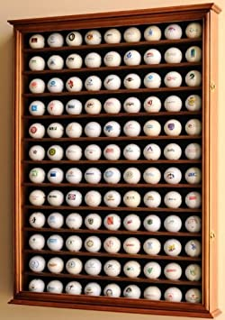 108 Golf Ball Display Case Cabinet Wall Rack Holder w UV Protection -Walnut