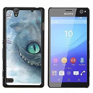 Gato de Halloween Gatito gris de ojos- Metal de aluminio y de plástico duro Caja del teléfono - Negro - Sony Xperia C4 E5303 E5306 E5353