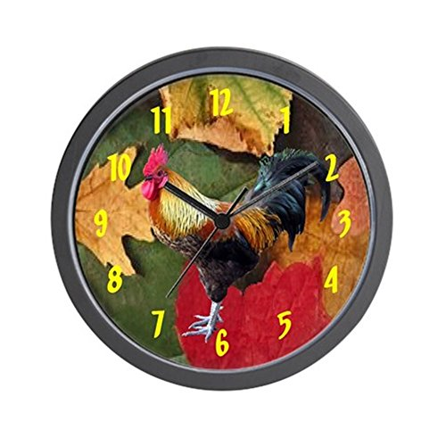 CafePress – Rooster Leaves Wall Clock 10inch – Unique Decorative 10″ Wall Clock For Sale