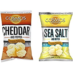 Cosmos Creations Variety Pack (1) Puffed Corn Cheddar and Pepper 7oz (1) Puffed Corn Sea Salt and Butter 7oz (Pack of 2)