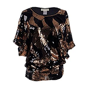 Anna-Kaci Womens Loose Fit Sequin Dolman Sleeve Evening Blouse Top, Bronze, Large