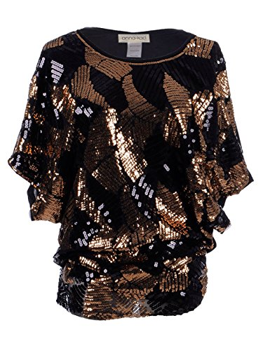 ticoloured Round Deco Sequin Dolman Evening Blouse Tops,Bronze,X-Large (Metallic Kimono)