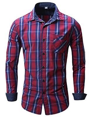 Yayu Mens Casual Plaid Checked Long-Sleeve Button Down Dress Shirts