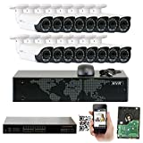 Cheap GW Security 16 Channel 1080P PoE NVR HD IP Security Camera System with 16 Indoor/ Outdoor 2.8-12mm Varifocal 2MP Cameras