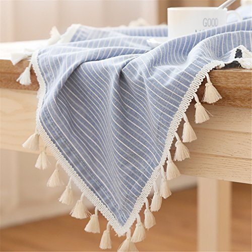 LUCKYHOUSEHOME Blue and White Stripe Tassel Tablecloth Cotton Linen Rural Square Home Kitchen Dinning Tabletop Table Cover 55 x 55 Inch