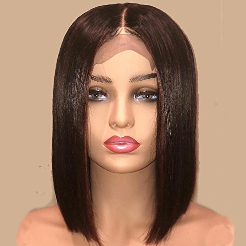 AllHairz Bob Haircut Style Lace Front Wigs Human Hair for Black Women Brazilian Virgin Human Hair Short Wigs 150 Density Slightly Bleached Knots Straight Glueless Lace Wig (10 Inches, Lace Front Wig)