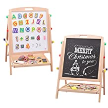 2 In 1 Wooden Drawing Board , Black and white Boards 53x36cm(Free 26 Magnetic letters)