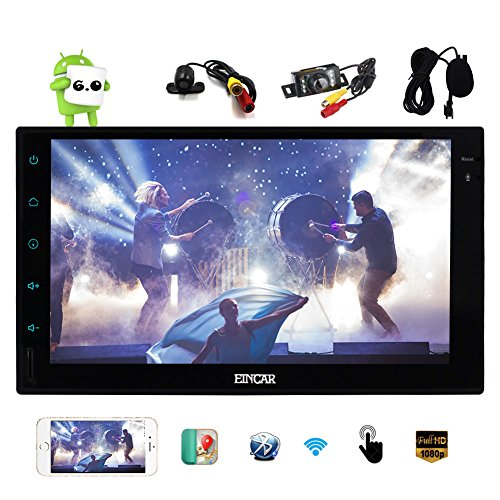 Free Dual Camera as Gifts Latest Android 6.0 Car Stereo with GPS Double Din Navigation 7 Inch Full Touch Screen Vehicle Radio HeadUnit Support 1080P Video OBD2 No-DVD Built-in Bluetooth WiFi Autoradio