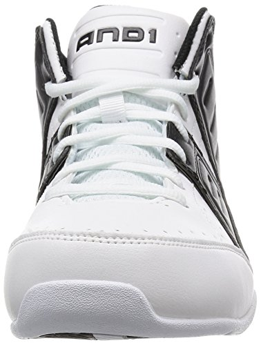 And1 And 1 Mens Rocket 4-m Scarpa Da Basket Bianco / Nero