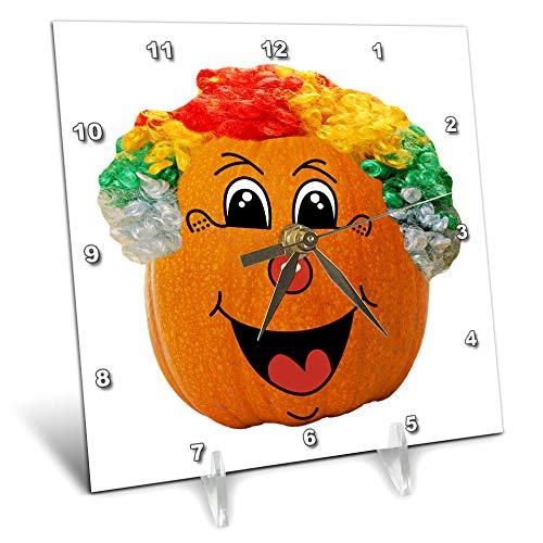 3dRose Sandy Mertens Halloween Food Designs - Jack o Lantern Funny Clown Face Halloween Pumpkin, 3drsmm - 6x6 Desk Clock (dc_290217_1)]()