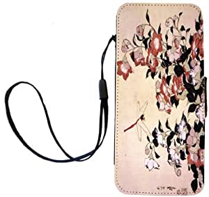 Rikki KnightTM Katsushika Hokusai Art Chinese Bell Flower and Dragon-Fly Design iPhone Apple 5c PU Leather Wallet Type Flip Case with Magnetic Flap and Wristlet for Apple iPhone 5c