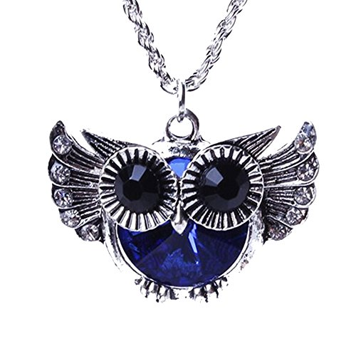 SDLM Blue Crystal Made with Swarovski Elements Vintage Owl Pendant Necklace Charm Jewelry (Jackie 3 Piece Costumes)