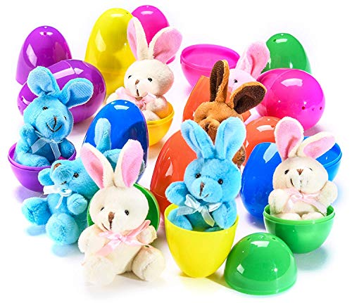 30 PCS Easter Eggs Basket Stuffers Plush Bunnies Toy Plastic Easter Eggs Fillers Bunny Kids Party Favors Surprise Easter Eggs Hunt Games Supplies Toddler Girls Toys Birthday Gifts Goodies bags by BSWEEII (Image #6)