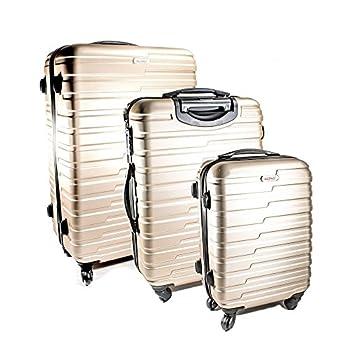 Image of ALEKO LG915CHA ABS Luggage Travel Suitcase Set with Lock 3 Piece Horizontal Stripe Champagne Luggage