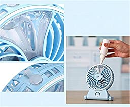 Soter Portable USB Mini Stable Desktop Misting Fan with Cooling Diffuser Cool Mist Air Ultrasonic Humidifier (blue)
