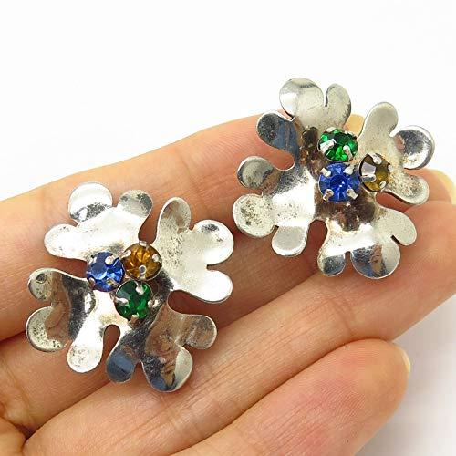 - Antique 925 Sterling Silver Multi-Color Rhinestone Screw Back Earrings