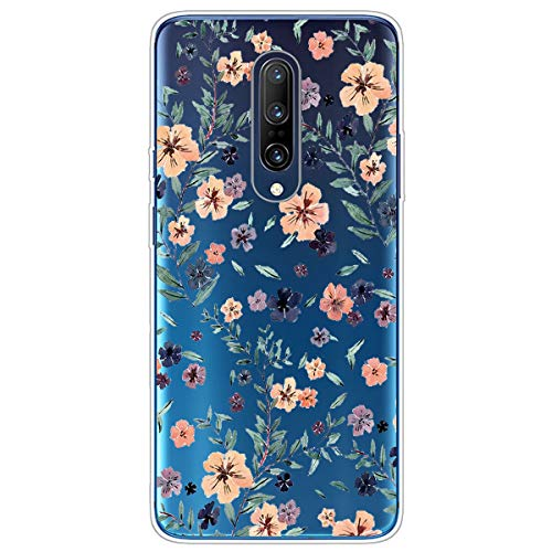 - Compatible with Oneplus 7 Case with Flowers, Clear Oneplus 7 Transparent Flexible Soft TPU Bumper Rubber Silicone Case Raised Bezels Slim Protective Cover