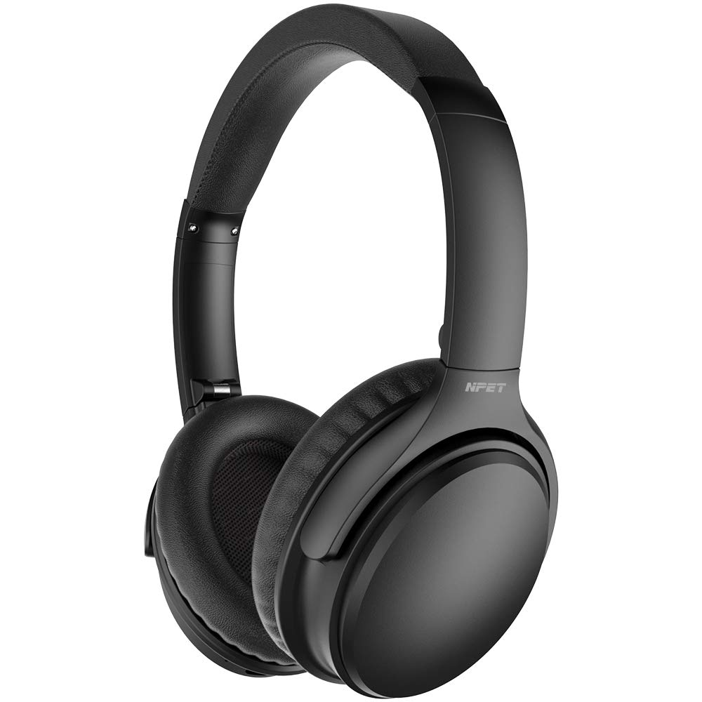 NPET A3 Active Noise Cancelling Headphones, Bluetooth Headphones with Microphone Deep Bass Wireless Headphones Over Ear, Comfortable Protein Earpads, 30 Hours Playtime for Travel/Work