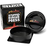 Grillaholics Stuffed Burger Press and Recipe eBook - Lifetime Guarantee - Hamburger Patty Maker for Grilling - BBQ Grill Accessories