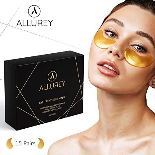 ALLUREY 24K Gold Collagen Eye Mask, Eye Treatment, Reduces Puffiness, Anti-aging and Anti-wrinkle Effect, Moisturizes, Under Eye Patches (15 Pairs)